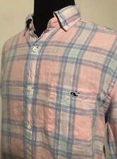 Vineyard Vines Linen Shirt Pink Plaid Classic Tucker Men's Size Medium M