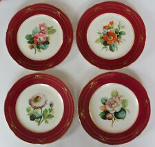 ANTIQUE (188O's) SET OF 4 VICTORIAN HAND-PAINTED PORCELAIN PLATES CONTINENTAL