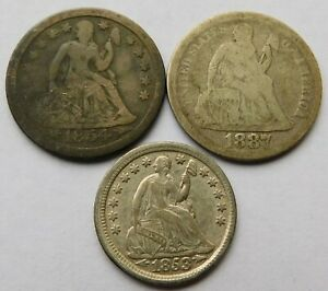 1854-O + 1887 Seated Liberty Silver Dimes 10C + 1853 Seated Half Dime 5C