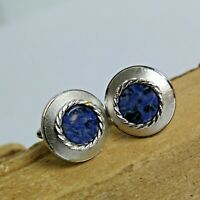 Vintage Dante Cufflinks Brushed Silver Tone Round Blue Agate Toggle Mens