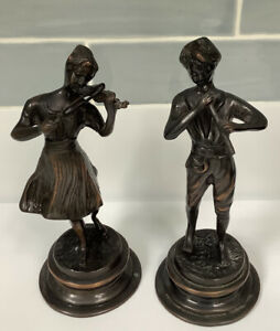 Cold Cast Bronze Figurines Of Musicians Two Figures