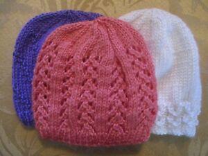 NEWBORN to 6 Months Set of 3 BABY HATS . Hand knitted. White, Purple & Peach