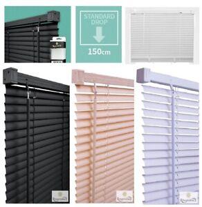 PVC Venetian Blinds Window Door Blind Easy Fit Trimable All Sizes Drop 150cm