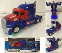 TRANSFORMERS OPTIMUS MONSTER TRUCK ROBOT BUMP & GO CAR LIGHTS SOUNDS TOYS
