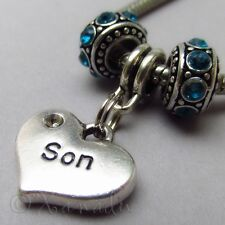 Son European Heart Charm And Birthstone Beads For Large Hole Charm Bracelets