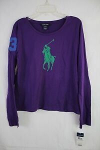RALPH LAUREN Girls Long Sleeve Large Pony T-Shirt Top size XL (16) New