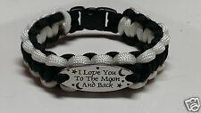 """I Love You to the Moon and Back"" Paracord Bracelet; Black with White Trim"