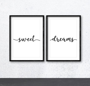 Sweet Dreams Quote Wall Art Print Poster x2. Inspirational Bedroom Home Decor
