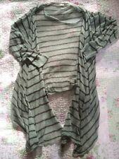 Gorgeous SANDWICH Ladies Stripy Waterfall Cardigan-size XL 14. VGC Green/ Brown