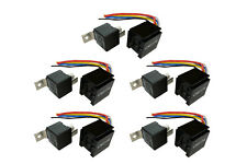 5 LOT TEMCo 12 V 60/80 Amp Bosch Style S Relay with Harness Socket Automotive