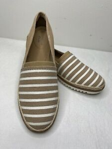 COLLECTION CLARKS Womens Beige White Striped Suede Slip On Shoes 8 Serena Paige
