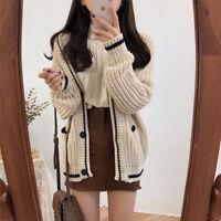 Korean Autumn Winter Causal Women Long Sleeve Knit Fashion Cardigan Sweater Coat