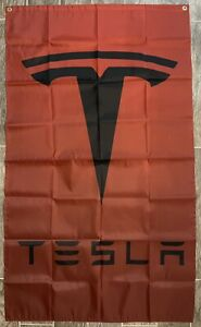 Tesla Logo 3X5 Garage Wall Banner Flag Man Cave Garage Model S Model Y Model 3