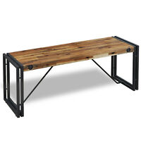Cosima Solid Wood Dining Bench Rustic Acacia Wooden Black Metal Legs