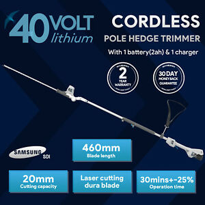 swift 40V EB918D2 Cordless Long Reach Pole Hedge Trimmer with Battery & Charger