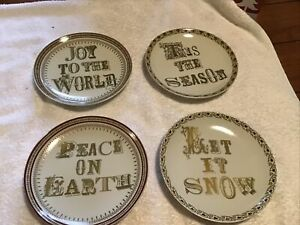 Set Of 4 Pottery Barn Joy To The World Holiday Christmas Appetizer Plates New