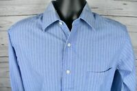 Chaps Blue Striped Long Sleeve Wrinkle Free Dress Shirt Mens Size 15.5 34/35