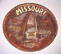 Vtg Missouri State Souvenir Wood Grain Plastic Footed Plate Bowl Platter Lugenes