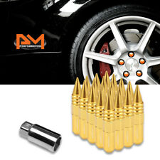 M12X1.5 Gold JDM Conical Hex Wheel Lug Nuts+Spike+Extension 20mmx107mm Tall 20Pc