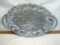 "Lenox Grape Weave Serving Platter Plate 19"" Handled Plate Pewter Metal Alloy"