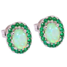 Green  Fire Opal Emerald Silver Women Jewelry Gemstone Stud Earrings 10mm OH3772