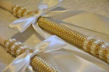 """2 - 24"""" Greek Orthodox Wedding Baptism Candles Lambathes Lambades Ivory Gold"""