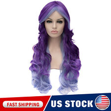 Purple Blue Layered Women Wave COS performance Long Wigs Curly Anime Hair + Cap