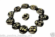 Jet Black Jasper Zodiac Sun Sign Set Reiki Engraved Gemstone A++ Free Booklet