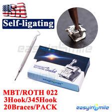Dental Self Ligating Brackets Orthodontic Passive Braces Rothmbt 3345hook 20pc