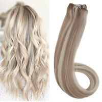 Ugeat 50g One Piece Micro Beads Weft Hair Extensions Highlights Blonde P18/613#