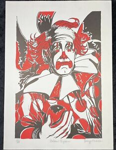 George Crionas Golden Eyes Signed Lithograph 20/100 Art Clown Red MCM