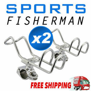 2x Quality 316 Stainless Steel Rod Holder RAIL Mount Wire Fishing Boat 360 degre