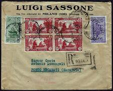 1931 - Raccomandata da Milano con affrancatura multipla S.Antonio