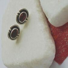 Granat, oval, rot, elegant, Ohrringe, Ohrstecker, 925 Sterling Silber, neu