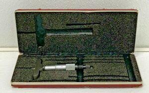 Starrett #440M Metric Micrometer Depth Gage 25mm Rod w/Hard Case 54A