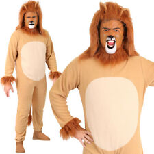 ADULT LION COSTUME ANIMAL FANCY DRESS UNISEX JUMPSUIT KING OF THE JUNGLE OUTFIT