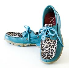 Twisted X Women's Turquoise with Cheetah Print Driving Moccasin shoes Size 6.5M