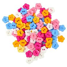 100Pcs Mixed Color 2 Holes Resin Flower Button for Sewing Scrapbook Craft DIY