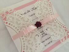 New Handmade Luxury Laser Cut Rose Wedding Invitation
