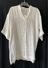 Eileen Fisher Womens White Organic-linen Tunic Top Shirt Petites PS BHFO 4379