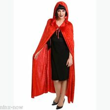 Red Velveteen Hooded Cape Cloak UNISEX Devil Vampire Fancy Dress Accessory