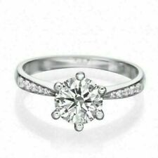 2.42Ct White Round Cut Vvs1 Diamond Six Prong Engagement Ring in 14k White Gold