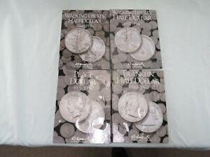 4 Coin Folders Peace Dollars Franklin & Walking Liberty Half Dollars - No Coins