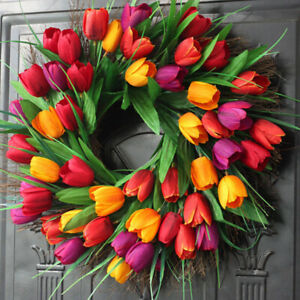 1x Lifelike Tulip Spring Wreath Hanging Garland Wedding Home Door Wall Decor US