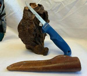Vtg 1989 Case XX Centenial Fish Fillet Knife Blade Blue w/ Sheath Camping Tool