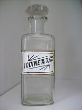 "Antique Glass Label Apothecary Bottle~LUG~1800's~7"" Tall~Tincture Of Iodine~RARE"