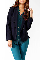 bnew w tags FOREVER 21 Buttoned Cutaway Blazer jacket navy small