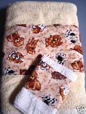 Towel & Washcloth Set Yellow Ivory Colored Dogs Puppies Nip