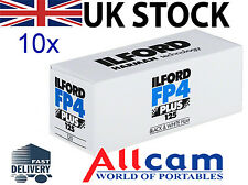 10 Pack: Ilford FP4 Plus 125 Professional Size 120 Black & White Negative Film
