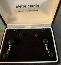 Vintage Pierre Cardin Cufflinks & Studs Gold Tone with Faux Onyx New In Box